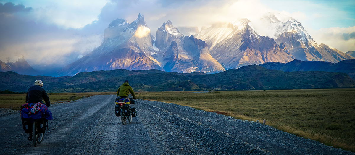 Bikers in Torres del Paine National Park, Chile