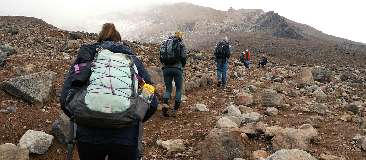 UVM students hike in Ecuador's grass paramo