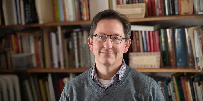 Professor Borchert in the seminar room in 481 Main Street