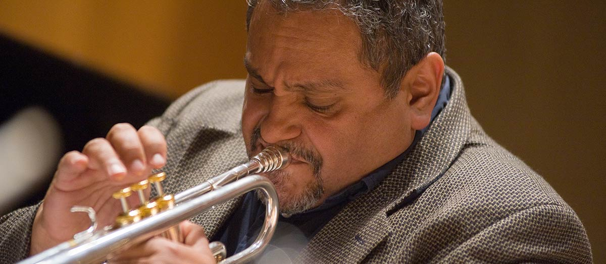 Ray Vega playing trumpet