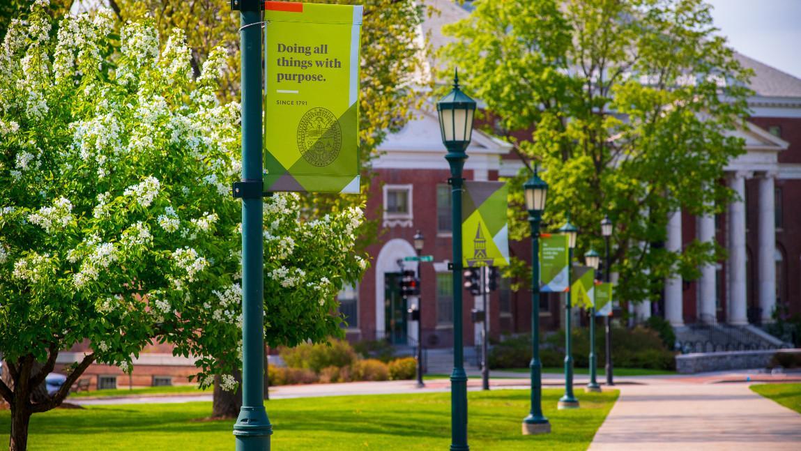 UVM campus sidewalk with streetlamps