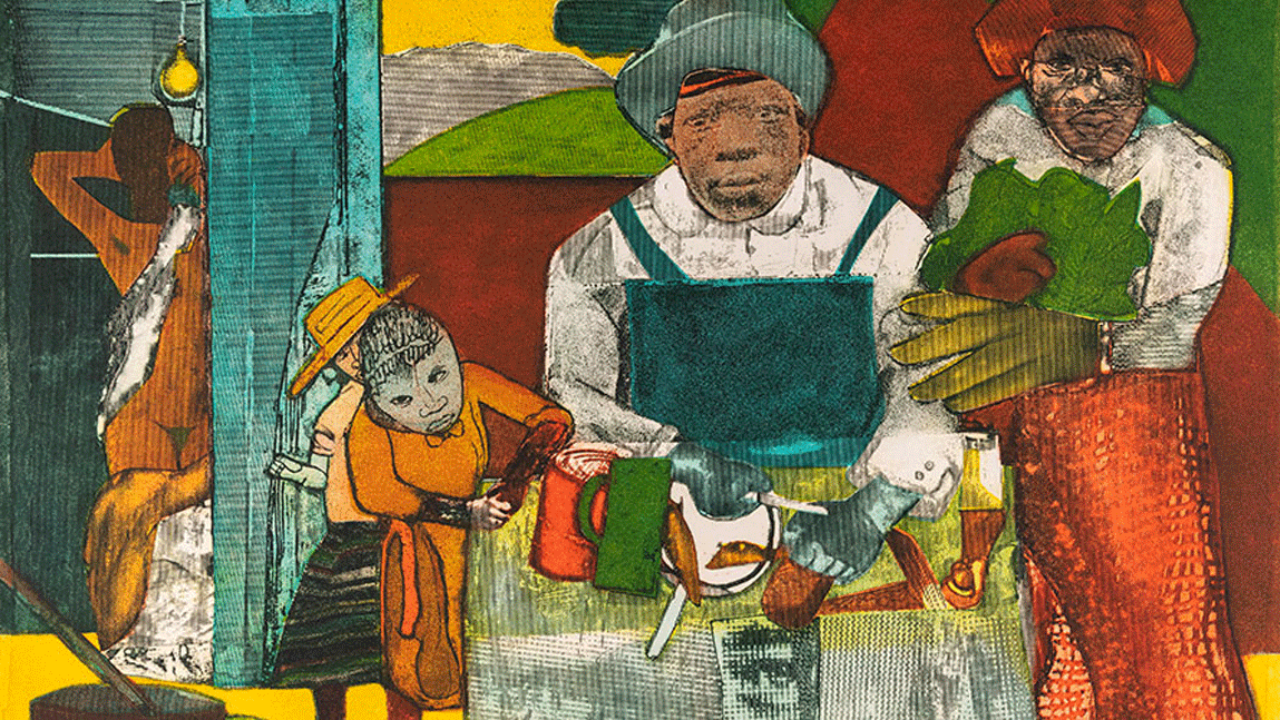 """""""The Family,"""" color etching and aquatint on paper, by Romare Bearden."""