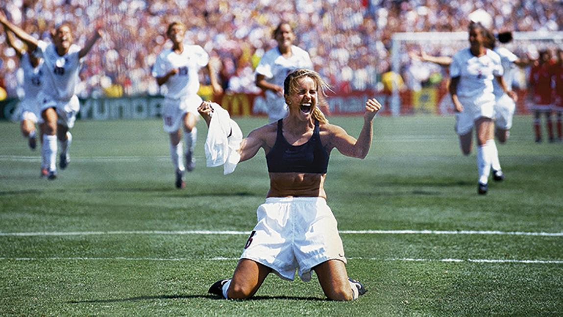 Brandi Chastain in the 1999 FIFA Women's World Cup Final. (Photo: Getty Images Robert Beck)