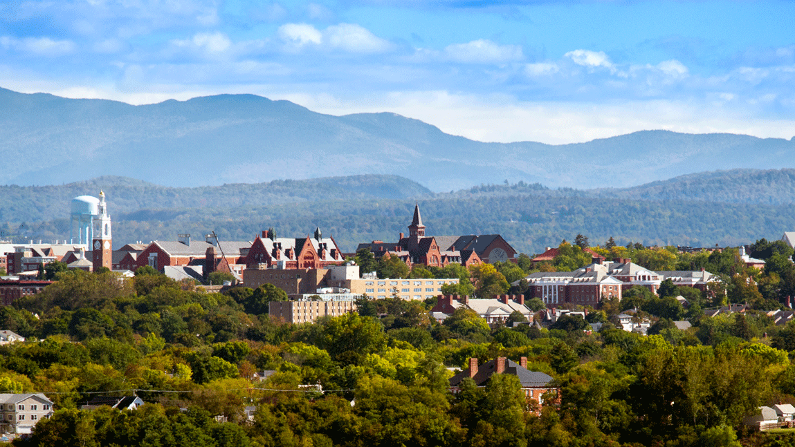 Skyline of Burlington and mountains in Vermont.