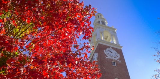 Ira Allen Chapel surrounded by the beauty of fall colors