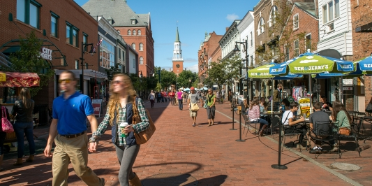 People walking on Church Street in Burlington VT