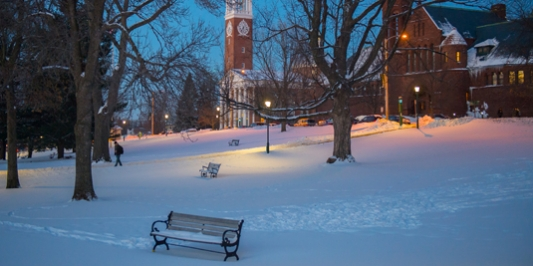 winter picture of the UVM Green