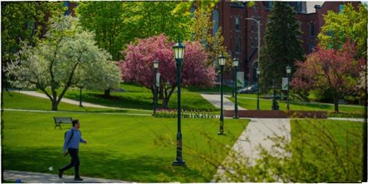 Walking across the UVM green in spring