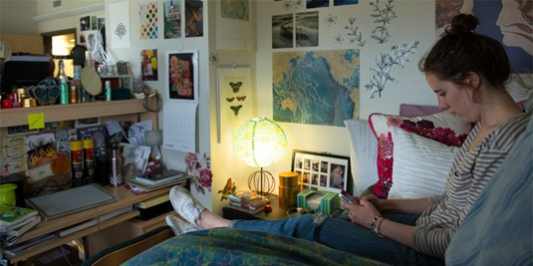 student studing in their dorm room