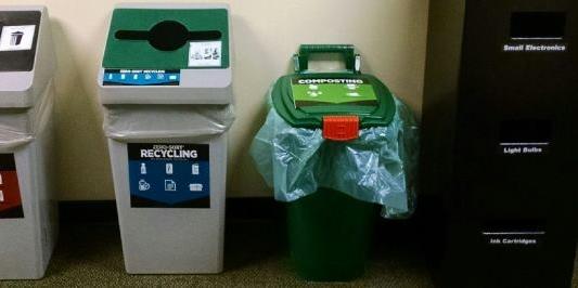 recycle bin in hallway