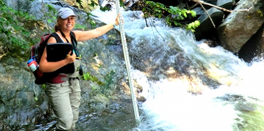 Student on the job with Bear Creek Environmental