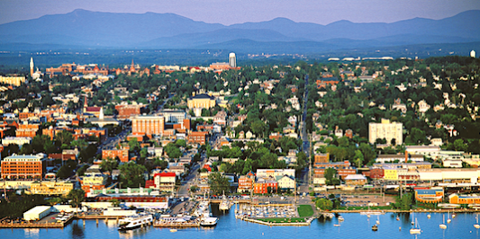 Aerial view of Burlington and the mountains of Vermont.