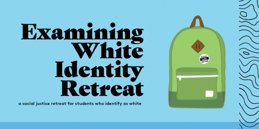This image shows a back pack with the message: black lives matter and it reads: examining white identity retreat