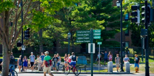 UVM students at on campus crossroads