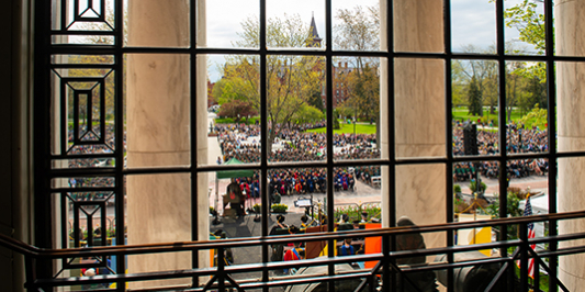 commencement platform party from waterman building window