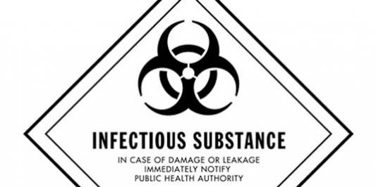 D.O.T. Infectious Substance Label for Transportation of Hazardous Materials Class 6