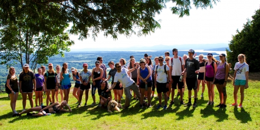 group of WE students on Mt. Philo