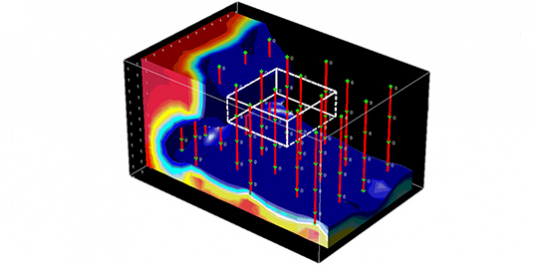 3-D computer graphic of a similutated groundwater plume with numerical method being applied