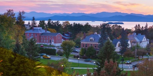 sunset on Lake Champlain from UVM campus