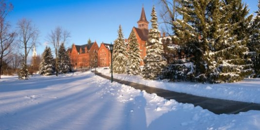snowy winter scene on main campus