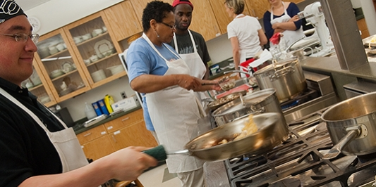 Students in Environmental Cooking Class