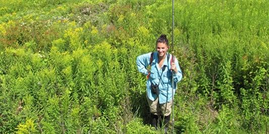 Graduate student conducting field research