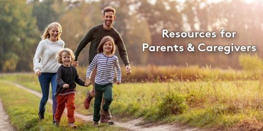 parents with children taking a walk