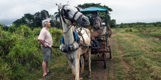 a Gund reserch chats with the driver of a horse drawn carriage in Cuba