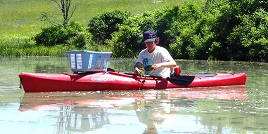 Student in kayak