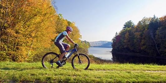 Mountain biker on recreation trail
