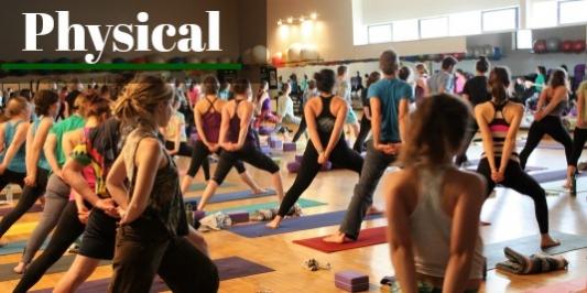Yoga class workout, physical wellness banner.