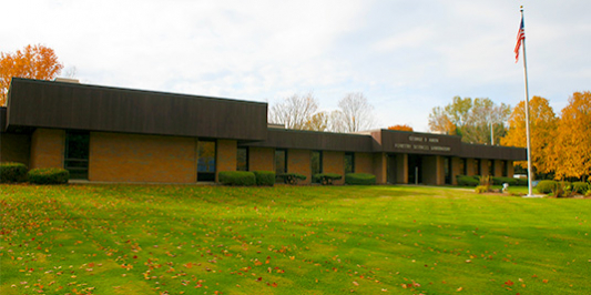George D. Aiken Forestry Sciences Lab building, lawn and golden maple trees
