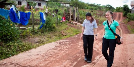 Interns walking in Rwanda