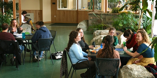Students meet with Student Services staff in solarium