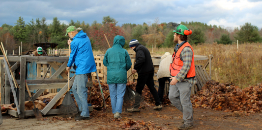 image description: five people in jackets and vests stand around a pile of leaves under a cloudy fall sky