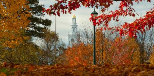 Ira Allen Chapel seen through fall foliage