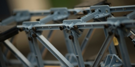 Closeup of a mechanical design project