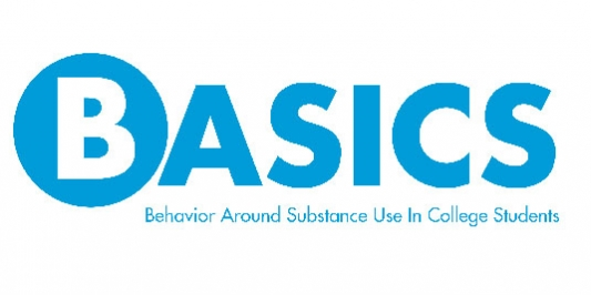 logo in blue that spells out the word basics