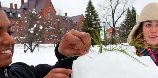 students building a snow cat