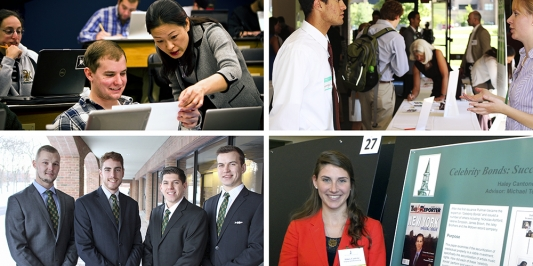 montage of images of students in the Business school