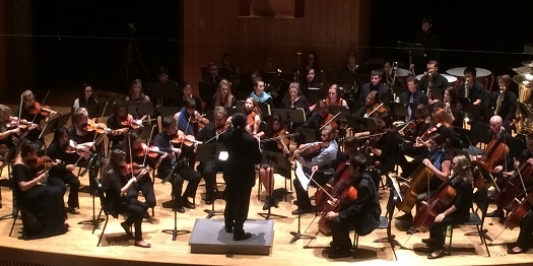 The UVM Symphony Orchestra performs.