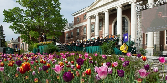 view of stage at main commencement ceremony