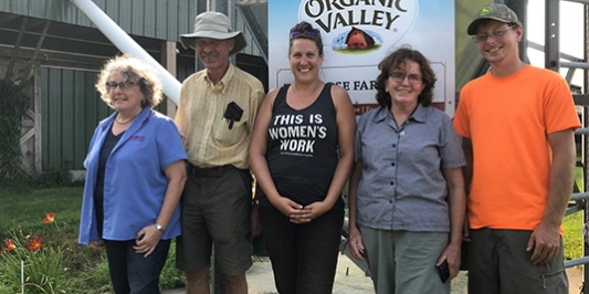 Laura Paine DGA-National Program Director, Master Grazier Leon Corse and his daughter Abbie, Mary Ellen Franklin VT DGA Educational Coordinator, and Apprentice Coty Fisher at the Corse Farm in Whitingham, Vermont