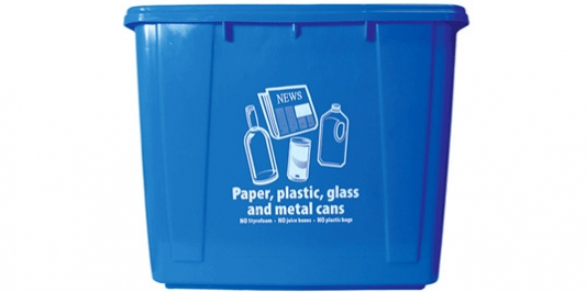Off campus blue recycle bin