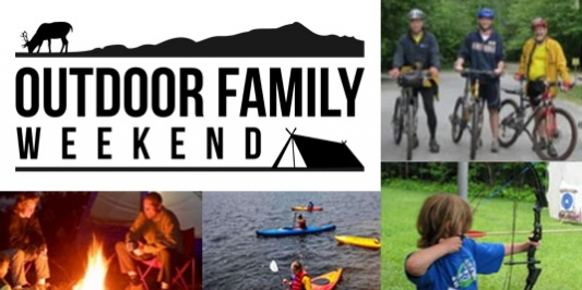 Images of families outdoors - shooting a bow, riding bikes, kayaking, and by a campfire