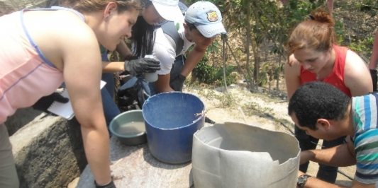 Students working with water basins while studying abroad