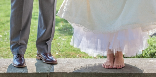 Bride and groom's feet at UVM