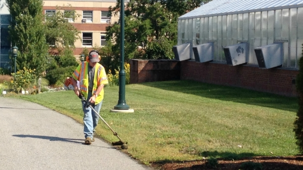 grounds worker using string trimmer