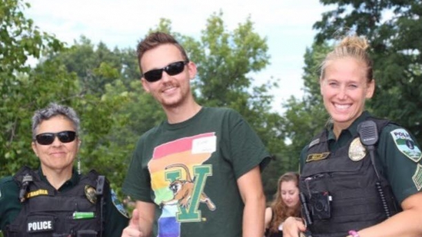 Detective D'Andrea and Sergeant Seller at a UVM pride event.