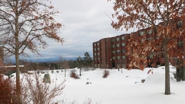 Harris Millis residence hall in winter